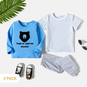 3-Pack Toddler Graphic Letter & Bear Print & Striped Tee & Pants Set