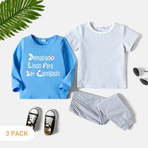 3-Pack Toddler Boy Graphic Letter Print & Striped Tee & Pants Set