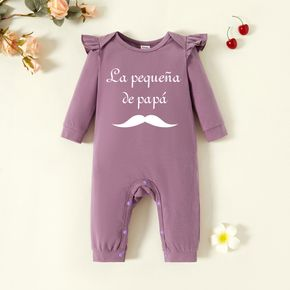 Baby Girl Graphic Letter Print Long-sleeve Ruffled Jumpsuit