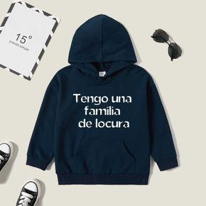 Kids Boy Graphic Letter Print Long-sleeve Hooded Pullover