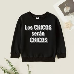 Kids Boy Graphic Letter Print Long-sleeve Pullover