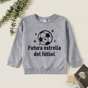 Kids Boy Graphic Letter & Ball Print Long-sleeve Pullover