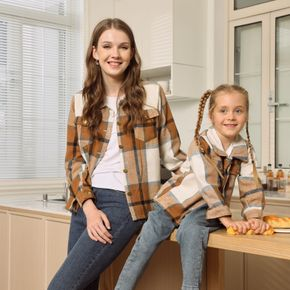 Plaid Lapel Button Down Long-sleeve Outwear Tops for Mom and Me