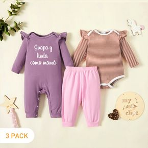3-Pack Baby Girl Graphic Letter Print & Striped Ruffled Romper Jumpsuit Pants Set