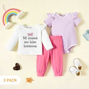 3-Pack Baby Girl Graphic Letter Print & Striped Ruffled Romper Tee Pants Set