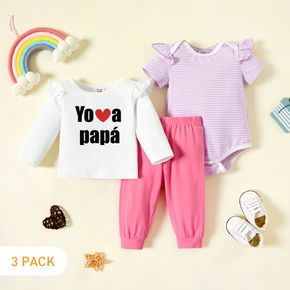 3-Pack Baby Girl Graphic Letter & Heart Print & Striped Ruffled Romper Tee Pants Set