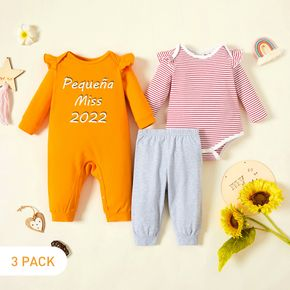 3-Pack Baby Girl Graphic Letter & Number Print & Striped Ruffled Romper Jumpsuit Pants Set