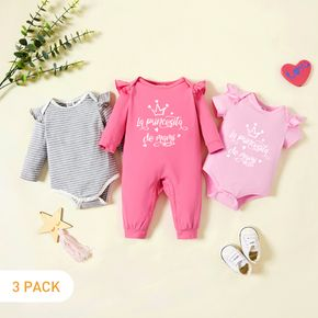 3-Pack Baby Girl Graphic Letter Print & Striped Ruffled Romper Jumpsuit Set