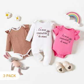 3-Pack Baby Girl Graphic Letter & Floral Print & Striped Ruffled Romper Jumpsuit Set