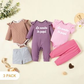 5-Pack Baby Girl Graphic Letter Print & Striped Ruffled Romper Jumpsuit Pants Set