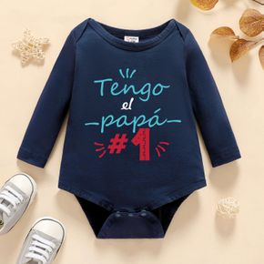 Baby Boy Graphic Letter & Number Print Long-sleeve Romper