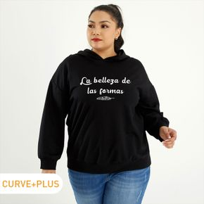 Woman Plus Size Graphic Letter & Leaf Print Long-sleeve Hooded Pullover