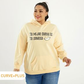 Woman Plus Size Graphic Smile & Letter Print Long-sleeve Hooded Pullover