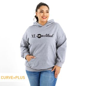 Woman Plus Size Graphic Letter Print Long-sleeve Hooded Pullover