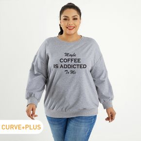 Woman Plus Size Graphic Letter Print Long-sleeve Pullover