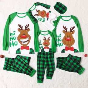 Christmas Elk and Letter Print Family Matching Long-sleeve Green Plaid Pajamas Sets (Flame Resistant)