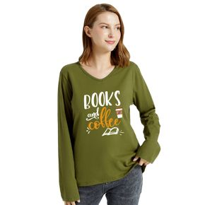 Woman Graphic Letter Print Long-sleeve V Neck Tee