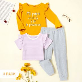 3-Pack Toddler Girl Graphic Letter Print & Striped Tee & Pants Set