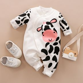 100% Cotton Cow Print Long-sleeve White Baby Jumpsuit