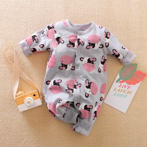 100% Cotton Cow Print Long-sleeve Baby Jumpsuit