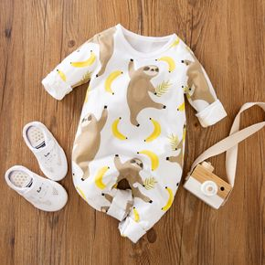100% Cotton Sloth and Banana Long-sleeve Baby Jumpsuit