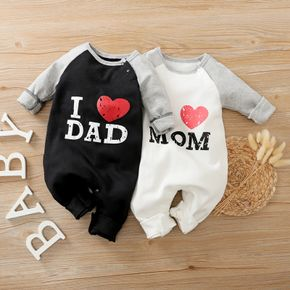 100% Cotton Letter and Heart Print Long-sleeve Baby Jumpsuit