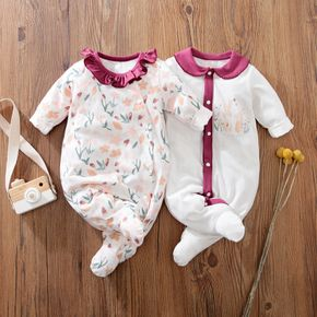 100% Cotton Rabbit and Floral Print White Baby Jumpsuit
