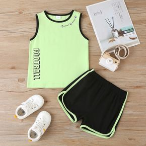 2-piece Toddler Boy Sporty Football Camisole and Shorts Set