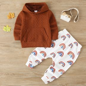 2-piece Toddler Boy Cable Knit Hoodie and Rainbow Print Pants Set