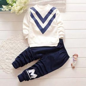 2-piece Toddler Boy Striped Pullover Sweatshirt and Letter Print Pants Set