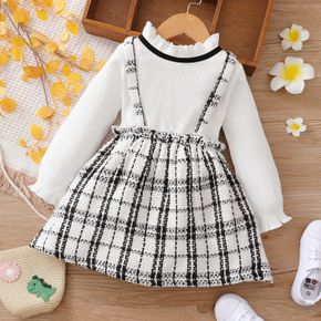 Toddler Girl Ruffle Collar Faux-two Strap Plaid Tweed Long-sleeve Dress