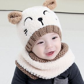 2-piece Baby / Toddler Knitted Animal Design Hat and Scarf Set