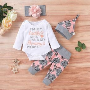 4pcs Floral and Letter Print Long-sleeve Baby Set