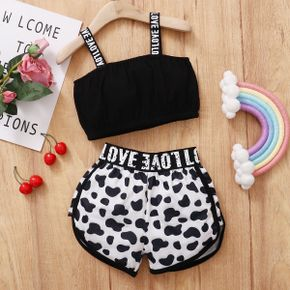 Trendy Toddler Girl Letter Tank And Leopard Shorts