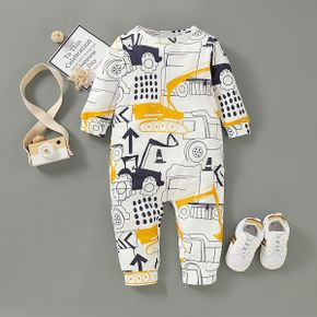 Vehicle Allover Long-sleeve Baby Jumpsuit