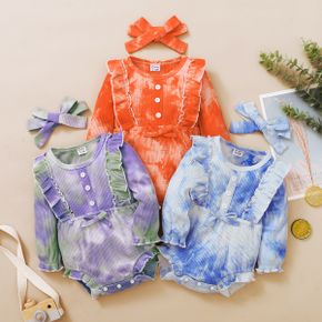 1pc Baby Girl Long-sleeve Cotton casual Tie dye Rompers & Bodysuits