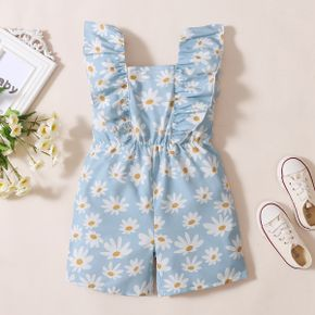 Toddler Girl Daisy Print Ruffle-sleeve Rompers