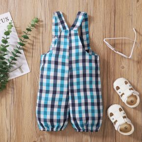 Baby Boy Plaid Overalls with Pocket