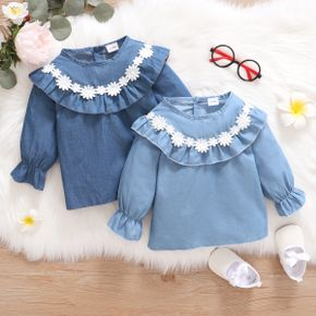 Baby Girl 3D Floral Appliques Blue Ruffle Long-sleeve Tops