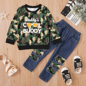 2-piece Toddler Boy Letter Camouflage Print Pullover and Patchwork Ripped Denim Overalls Set