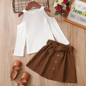 2-piece Toddler Girl Cold Shoulder Long-sleeve White Top and Belted Button Design Skirt Set
