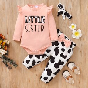 3pcs Baby Girl Letter Print Long-sleeve Romper and Cow Print Trousers Set