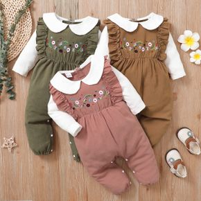 100% Cotton Baby Girl Floral Embroidered Doll Collar Ruffle Long-sleeve Jumpsuit