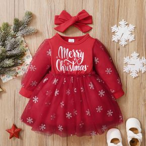 Christmas 2pcs Baby Letter Embroidered Glitter Snowflake Red Long-sleeve Mesh Dress Set