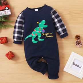 Christmas Dinosaur and Letter Print Baby Boy Plaid Long-sleeve Cotton Jumpsuit
