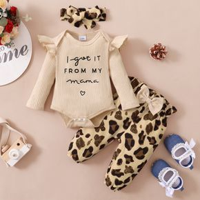 3pcs Baby Letter Embroidered Ruffle Long-sleeve Ribbed Romper and Leopard Pants Set