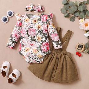 3pcs Baby Girl All Over Floral Print Ribbed Long-sleeve Romper and Suspender Skirt Set