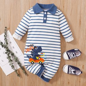 Baby Boy Cartoon Crocodile and Letter Print Striped Lapel Long-sleeve Jumpsuit