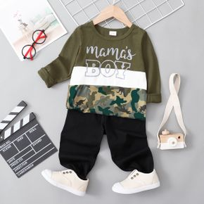 2-piece Toddler Boy Letter Camouflage Print Colorblock Long-sleeve Top and Black Pants Set