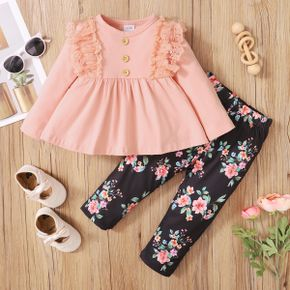 2pcs Baby Girl Lace Splicing Solid Long-sleeve Top and Floral Print Trousers Set